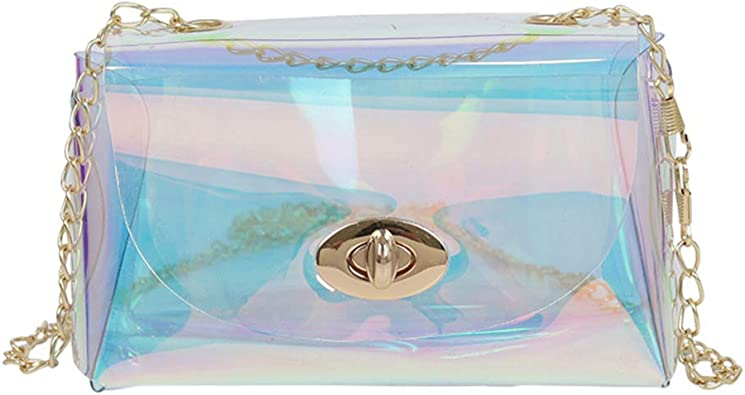 Tendycoco Crossbody Bag With Chain Holographic Clear Clutch Iridescent Purse Translucent Handbags For Women Handbags Amazon Com
