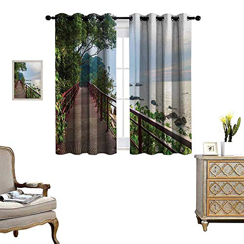 - Anyangeight Beach Blackout Window Curtain Walkway and Jogging Track by Sea in Cinque Terre Italian Mediterranean Vacation Customized Curtains W63 x L45 Green Chocolate