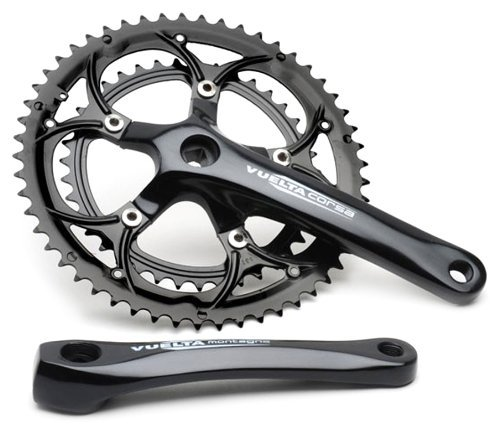 Vuelta Corsa Crank Set Double 53T 39T Black 110mm BCD New but NO Packaging (Black, 175mm Crank arm Length) ()