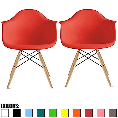 2xhome Set of 2 Red Mid Century Modern Plastic Dining Chair Molded Arms Armchairs Natural Wood Legs Desk No Wheels Accent Chair Vintage Designer for Small Space Table Furniture Living Room Desk DSW