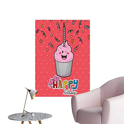 (Wall Decorative Pink Strawberry Cupcake with Candle Cute Face Confetti Bow Tie Dots Pictures Wall Art Painting,20