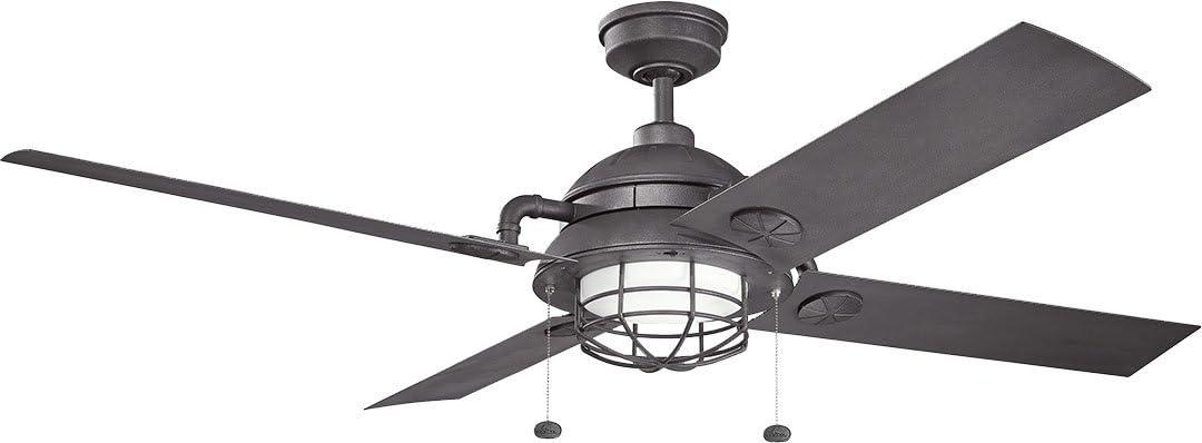 """Kichler 310136DBK, Ceiling Fan Distressed Black 65"""" Outdoor Ceiling Fan with Light"""