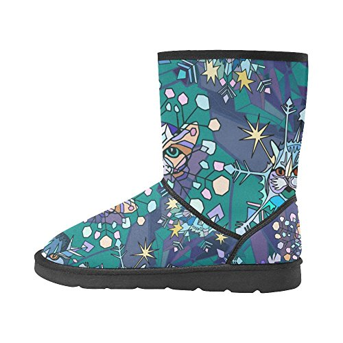 InterestPrint LEINTEREST Funny cartoon snowflakes with cat heads Snow Boots Fashion Shoes For Women C8roNm7Cnn