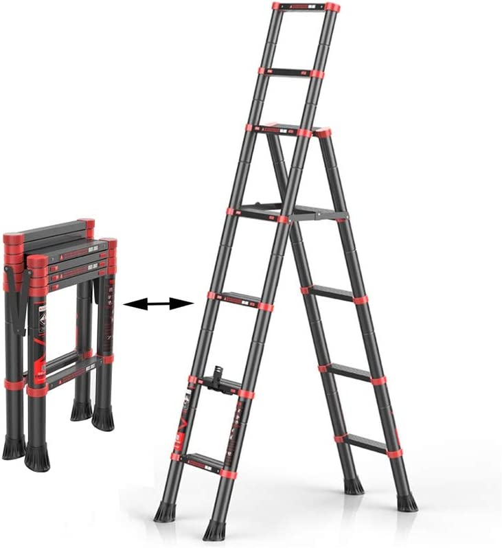 XSJZ Escalera de Extensión, Apoyabrazos Doble Levantamiento Telescópico Escaleras Plegables Hogar Aleación de Aluminio Engrosamiento Interior Multifunción Escaleras de 6 Pasos Escalera Plegable: Amazon.es: Hogar