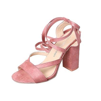 ce658b43 Sandalias mujer, Manadlian Sandalias de mujer Tacones altos Tobillo Zapatos  con punta abierta Fiesta día