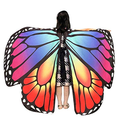 Dofel Kids Butterfly Wings Shawl Cape Party Prop Soft Fabric Costume Accessory for Girls (Rainbow 1) -