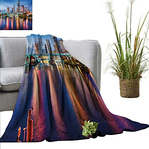 Weighted blanket for kids City,Hillsborough River Tampa Florida USA Downtown Idyllic Evening at Business District,Multicolor Weighted Blanket for Adults Kids Better Deeper Sleep -