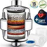 15 Stage Shower Water Filter with vitamin C, Carbon KDF for Hard Water - 2 Replacement Cartridge Reduce chlorine fluoride - Filtered shower head softener for Baby Family Skin and Hair Protection