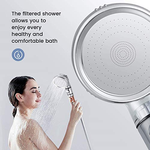 LucaSng Ionic Shower Head Handheld High Pressure Water Saving 3 Modes Filter Showerhead with Hose and Holder Suitable for Dry Skin and Hair