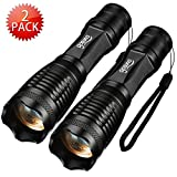 Gosund T10 Ultra Bright 1000 Lumen LED Water Resistant Flashlight of 5 Modes Focus Zoomble Tactical Torches for Outdoor Bottom Click (T10-2)