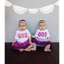 Twin Set Uno and Dos Baby Bodysuits 100% Cotton