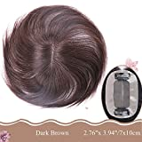 Moreal 6 Inch Straight Human Hair Top Wiglets Hand Tied Clip in Crown Topper for Women Thinning Hair and Grey Hair (7x10cm, Reddish Brown)