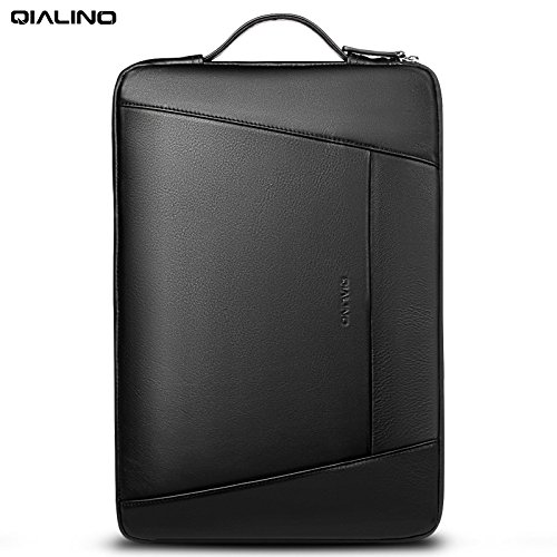 QIALINO Genuine Leather 15 in Laptop Briefcase, Water-proof Ultrabook Carrying Case Bag for 15