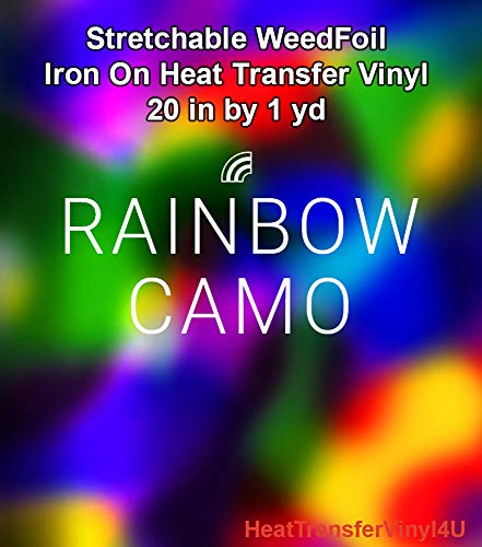 Stretchable WeedFoil Iron On Heat Transfer Vinyl 20 Inches by 1 Yard - Rainbow Camo