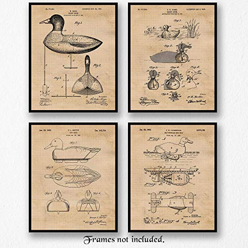 Original Duck Hunting Decoy Patent Poster Prints, Set of 4 (8x10) Unframed Photos, Great Wall Art Decor Gifts Under 20 for Home, Office, Garage, Man Cave, College Student, Teacher, Hunting & NRA Fan