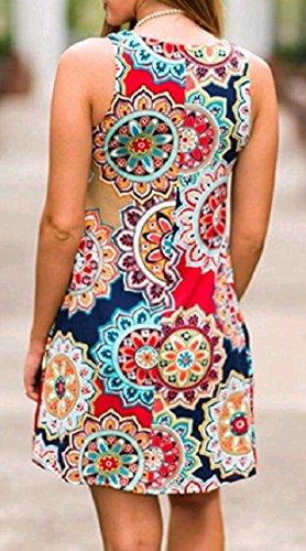Elegante Maniche Senza Vestito Ballo Midi Abito Pattern1 donne Una Girocollo Linea Coolred Da Stampare Fiore Y8qwWaZ