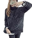 LISASTOR Women's Fashion Loose Oversized Pullover Turtleneck Knitted Sweater (Black)