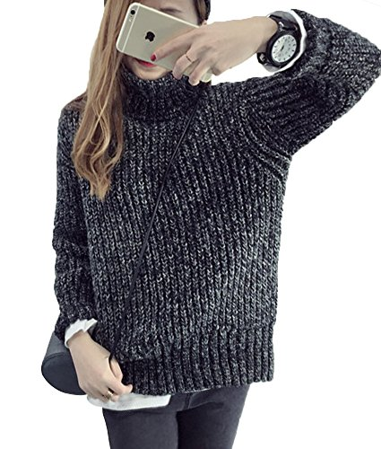 Girls Cashmere Cable (LISASTOR Women's Fashion Loose Oversized Pullover Turtleneck Knitted Sweater (Black))