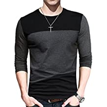 Yong Horse Men Soft Elasticity Classic Fit Block Stitch Crew Neck Long Sleeve Jersey T Shirt