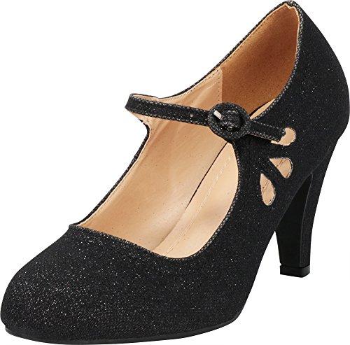 Cambridge Select Women's Round Toe Mid Heel Mary Jane Dress Pump,9 B(M) US,Black -