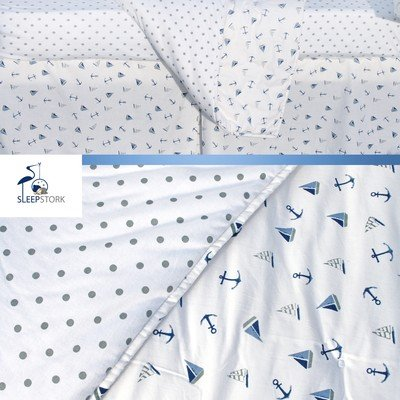 Crib Skirt Diaper Stacker| Stylish Nursery Baby Bed Set| Top Gifting Idea SleepStork Baby Crib Bedding Set: 4-Piece Nursery Set of Baby Quilt Organic Jersey Fitted Crib Sheet