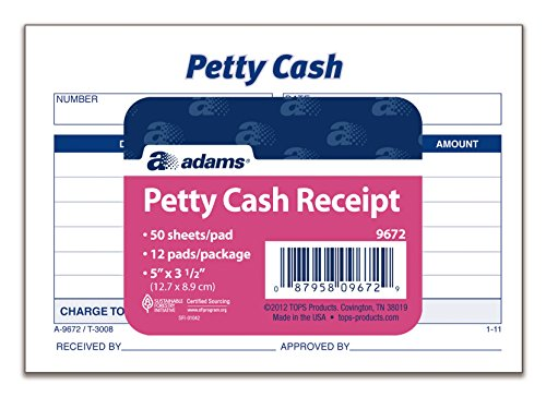 (Adams Petty Cash Receipt Pad, 5 x 3-1/2 Inches, 50 Sheets per Pad, Pack of 12 Pads (9672ABF))