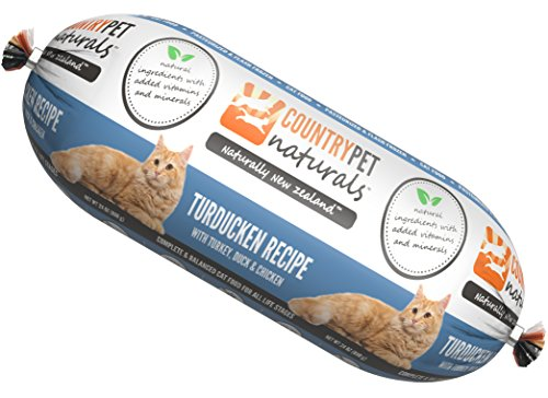 CountryPet Naturals Pasteurized Frozen Cat Food, Turkey Duck and Chicken Recipe (24 lbs Total, 16 Rolls Each 1.5 lbs) – Natural Ingredients with Added Vitamins & Minerals – Made in New Zealand