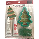 Holiday Tree Cookie Decorating Kit, Includes Cookie Cutter, White Icing, Red Icing, and Sparkly Green Sprinkles, Use for Christmas or Any Time of Year