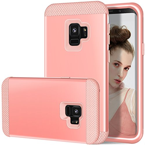 Galaxy S9 Case, MCUK Hybrid Heavy Duty Scratch-Resistant Shockproof Dual Layer Hard PC+ Soft Silicone Impact Protection Full-Body Protective Case Cover for Samsung Galaxy S9 (Rose Gold)