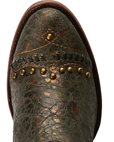 Innhegningen Kvinners Distressed Aztec Piggdekk Cowgirl Boot Rund Tå - C2882 Brun