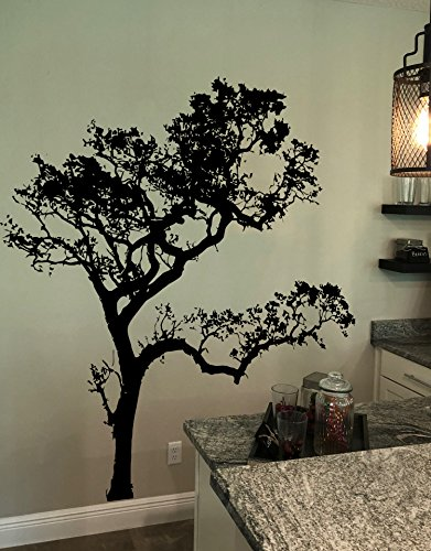 Black (6ft Tall) Oak Tree Wall Decal for the living room, bedroom, bathroom, or Nursery. #409A