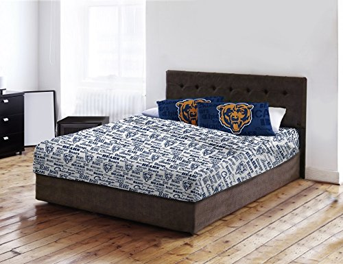 Chicago Bears Full Sheet Set (Chicago Bears - Full Size - Team Colored Anthem Sheet Set - Set Includes: (1 Full Size Flat Sheet, 1 Full Size Fitted Sheet, 2 Pillow Cases) SAVE BIG ON BUNDLING!)