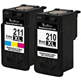 Valuetoner Remanufactured Ink Cartridge Replacement for Canon 210XL 211XL 2973B001 2975B001 (1 Black, 1 Color) 2 Pack For PIXMA IP2700 MP240 MP250 MP270 MP280 MP460 MP490 MX320 MX330 MX340 MX420