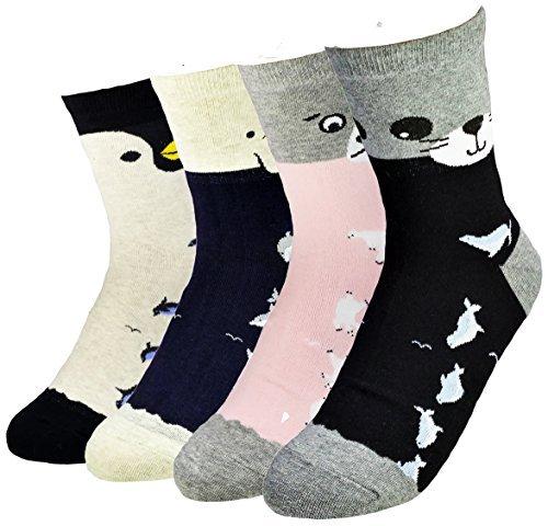 JJMax Mujer Océano Amigos ballenas y pingüinos algodón mezcla calcetines: Amazon.es: Ropa y accesorios