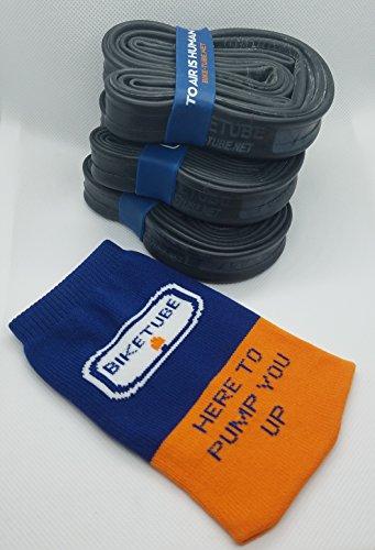 BIKETUBE Brand Inner Tubes, 700x18-25mm, 48mm Presta Valve, Value Bundle of 3, with 1 Free TubeSock
