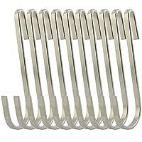RuiLing Flat Style Acero inoxidable de primera calidad S Gancho Utensilios de cocina Universal Pot Rack Hooks Ganchos para colgar resistentes - Usos múltiples para utensilios de cocina, ollas, utensilios, plantas, toallas - juego de 10