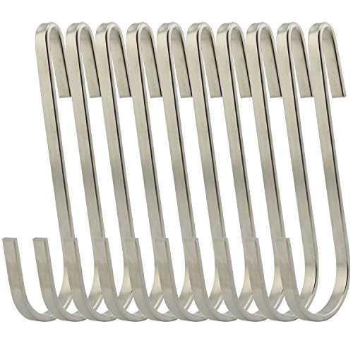 RuiLing Flat Style Premium Stainless Steel S Hook Cookware Universal Pot Rack Hooks Sturdy Hanging Hooks - Multiple uses for Kitchenware , Pots , Utensils , Plants , Towels - Set of 10
