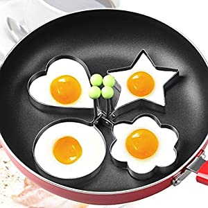 Vitoki Fried Egg Pancake Rings Mould Mold Shaper, Stainless Steel&Non-Stick Egg Rings Kitchen Tool