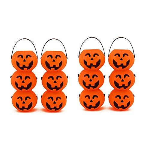 Adorox Small Mini Plastic Jack O Lantern Pumpkin Halloween Party Favor Candy Bucket Table Decoration Props (Halloween Pumpkin Candy)