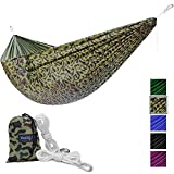 Yes4All Lightweight Double Camping Hammock with Carry Bag – Nylon Parachute Hammock/Lightweight Portable Hammock for Camping, Hiking (Camouflage)