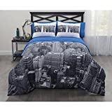Idea Nuova Casa Photoreal New York City Full Bed-in-a-Bag Coordinating Bedding Set with Matching 50'' x 63'' Window Panel, Set of 2#50278226
