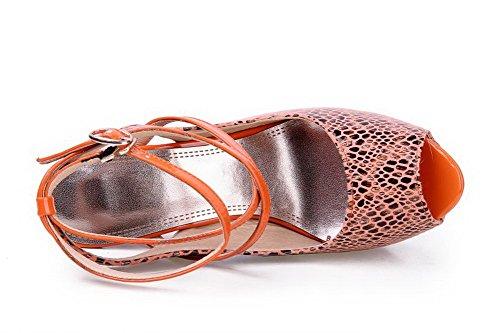VogueZone009 Womens Open Peep Toe High Heel Platform Blend Materials Embossed Leather Assorted Colors Sandals, Orange, 5.5 UK