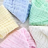 MUKIN Baby Muslin Washcloths Set- Natural Muslin Cotton Baby Wipes - Soft Newborn Baby Face Towel and Muslin Washcloth for Sensitive Skin- Baby Registry as Shower Gift(5 Pack 10x10 inches.)