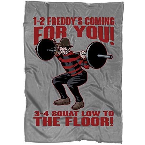ROEBAGS 1-2 Freddy's Coming for You 3-4 Squat Low to The Floor Blanket for Bed and Couch, Friday The 13th Halloween Blankets - Perfect for Layering Any Bed (Large Blanket (80