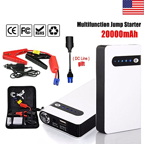 Marketworldcup 20000mAh Portable Car Jump Starter Power Bank Vehicle Battery Charger Engine 12V Portable √ High Capacity √ Star selling √ - Outlet Hours Monroe
