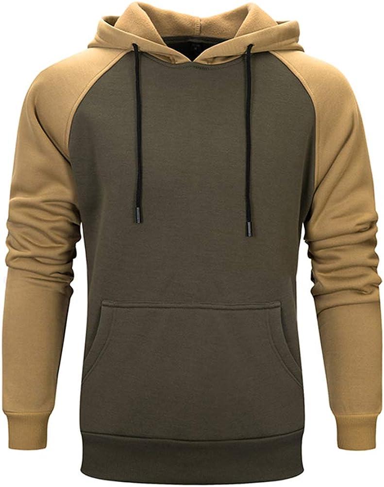 AOTORR Mens Long Sleeve Pullover Hoodie Sweatshirts with Kangaroo Pockets Solid Color Hoody