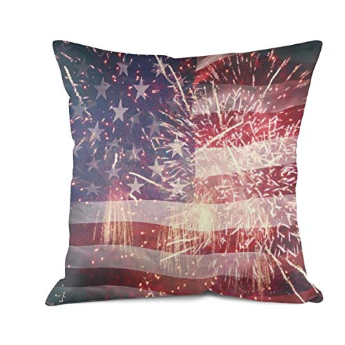 Heart Wolf Patriotic Holiday USA 4th American Flag Throw Pillow Covers 45x45cm Allergy Control Comfortable Breathable Pillowcase Classics Anti-Wrinkle Sofa Cushion Pillowcases
