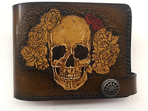 Handmade Man Leather Wallet Skull in Roses Unique Wallet Italian leather