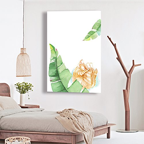 Watercolor Style Sleeping Cat with Green Leaves