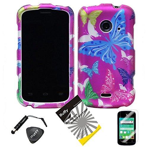 (TM) Screen Protector+ Stylus Pen + Case Opener + Design Rubberized Snap on Phone Case for ZTE Whirl2 Z667G / ZTE Prelude2 Z667T / ZTE Zinger Z667 (Purple Color Butterfly) ()